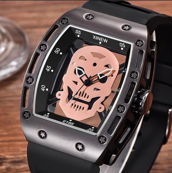 Relógio Original Caveira Preto/ Rose Crânio Esqueleto Top