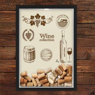 Quadro Caixa Porta Rolhas Vinho Wine Collection