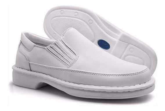 Sapato Masculino Branco Couro Ortopédico Médico Dentista 709