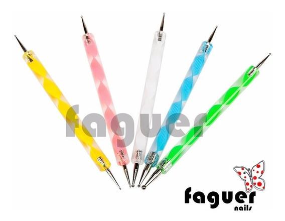 Pincel Dotting Tool Doble Para Deco De Uñas Nail Art. Faguer