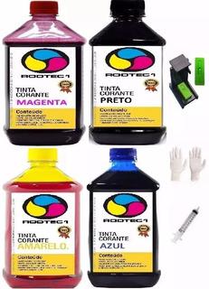 Kit Recarga 4 Litro Tinta Corante Universal + Snap 100 Clips