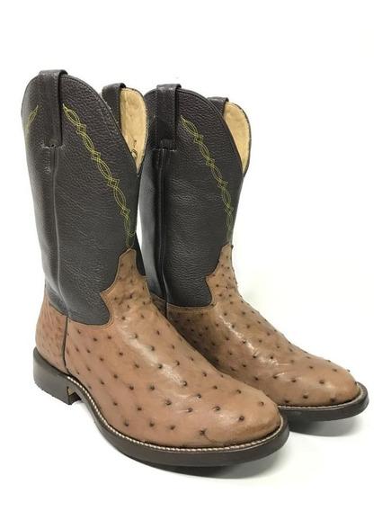 Bota Texana Country Masculina Jácomo Couro De Avestruz 5002