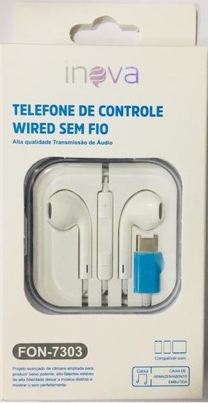 10 Fone De Ouvido Inova Controle Wired Type C Atacado