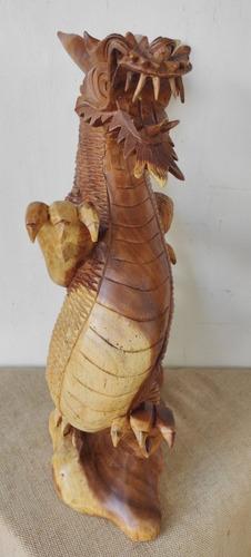 Dragão Escultura De Madeira