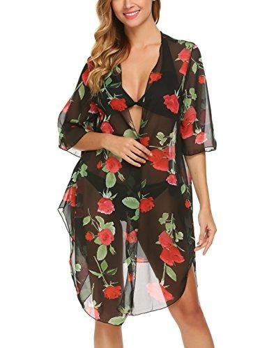 Elesol Mujer Impresion Floral De La Gasa De Kimono Cardigan