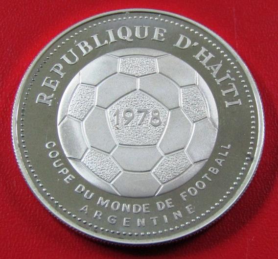Haiti Moneda Plata 50 Gourdes 1977 Copa Mundial Fifa 1978