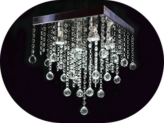 Lustre De Cristal Acrilico 30x30 Lampadas Inclusas Sala Quarto Vai Montado