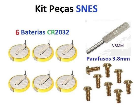 Kit- 6 Baterias Cartuchos Snes + Chave 3.8mm E 8 Parafusos