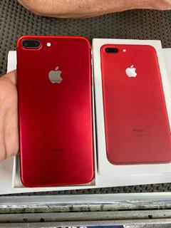 iPhone 7 Plus Vermelho 256gb Caixa, Trincado Home Funcionand