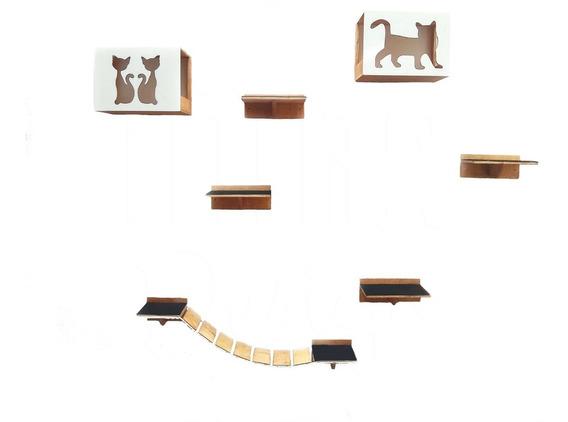 Kit Play Para Gatos 02 Nichos 04 Prateleiras E 01 Passarela