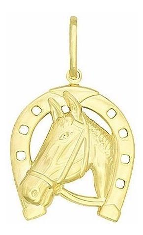 Pingente Ferradura Cavalo Folheado A Ouro 18k