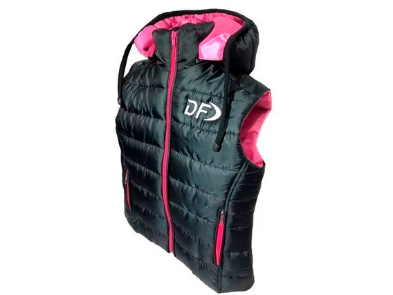 Chaleco Inflable Mujer Df Capucha Desmontable Negro / Rosa
