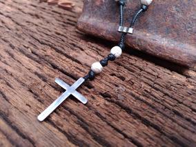 Colar Pedra Howlita Com Crucifixo Em Prata