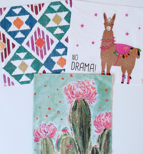 Servilletas Decoupage Set Cactus Laura Craft
