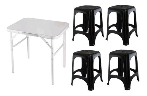 Kit Mesa Dobrável Alumínio 60x45cm + 4 Banquetas