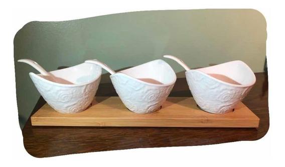 Set De Tazones X3 De Porcelana Con Cucharas Y Base De Madera