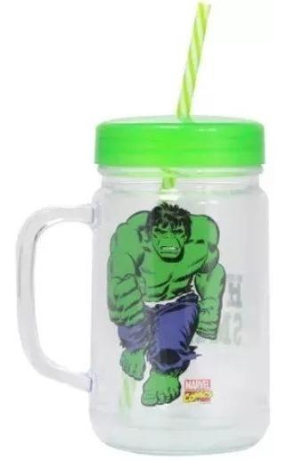 Caneca Copo Pote Heróis Comics Marvel Hulk C/canudo 700ml