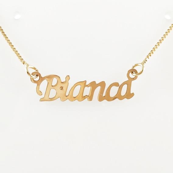 Corrente Folheado A Ouro Com O Nome Bianca