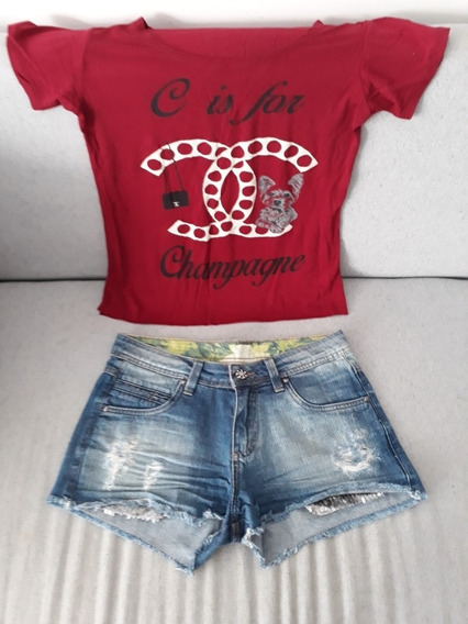Conjunto Jeans Shorts 36 Bermuda + Blusa Blusinha Feminino