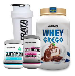 Combo Whey Grego + Colágeno Em Pó + Glutamina - Nutrata