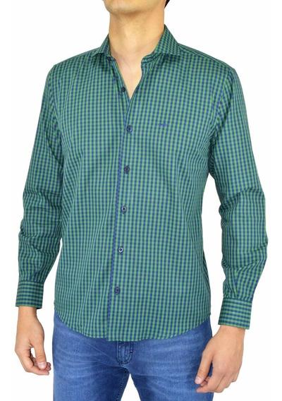 Camisa Hombre Pato Pampa Cuadros Verde Azul Ejecutivo