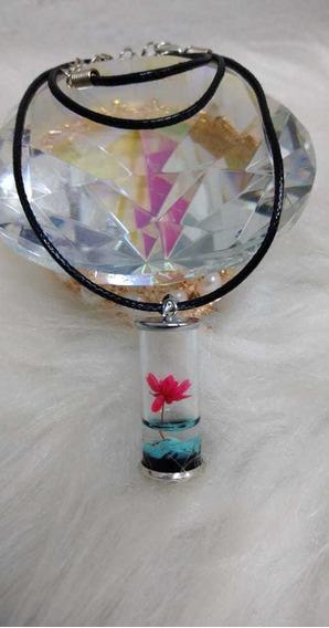 Colar Hippie,vidro,mini Flor,com Caixa,leve, Artesanal,lindo