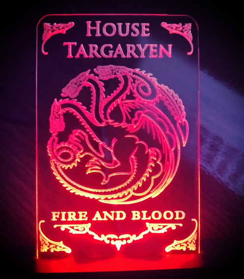 Luminária Targaryen House + Chaveiro, Game Of Thrones Got