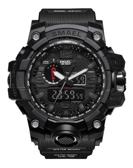 Relógio Militar Masculino Smael Sport Shock 50m Preto