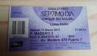 Entrada Septimo Día Cirque Du Soleil Soda Stereo