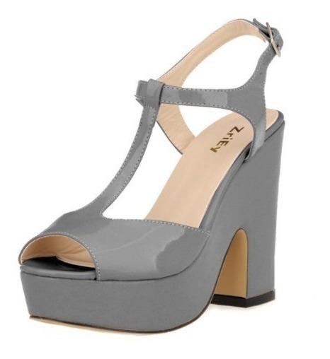 Zapatos Sandalia Con Plataforma Color Gris Número 35
