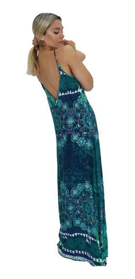 Vestido Largo Estampado Solero Tisu Tipo Mandala 3 Colores