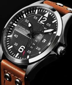 Relógio Masculino Stuhrling Original Aviator Pulseira Marrom
