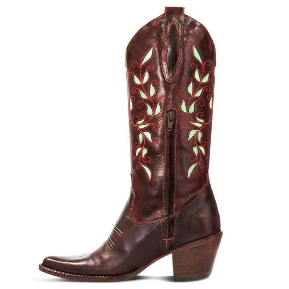 Bota Country Texana Br Couro Mustang Feminina Silverado Café