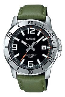 Relógio Masculino Casio Prata Data Pulseira Couro Verde + Nf