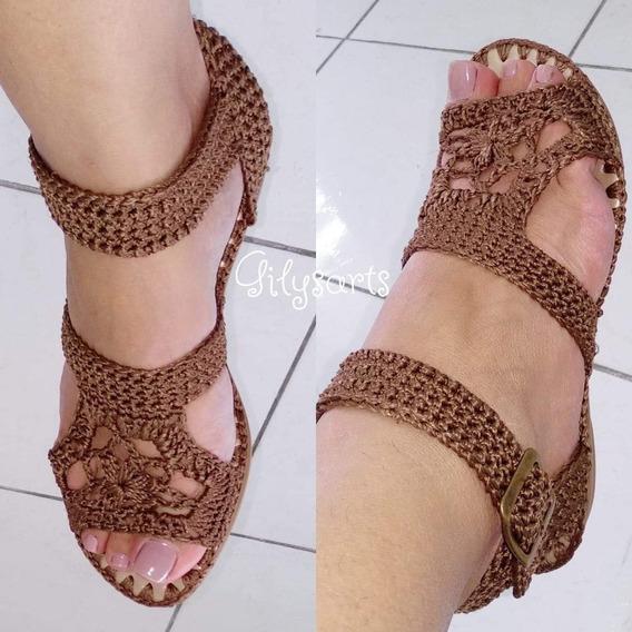 Sandália Em Crochê Com Solado Antiderrapante Do 34 Ao 40