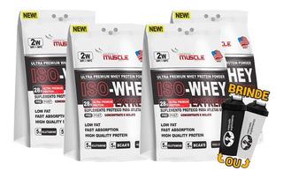 4x Iso Whey Protein 28g Isolado + Concentrado 1,8kg + Coq