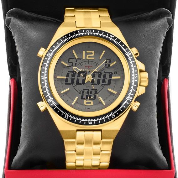 Relógio Masculino Technos Dourado Ts Carbon 2035msd/4b