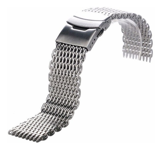 Pulseira Mesh Shark 18 Mm Interlock Pronta Entrega