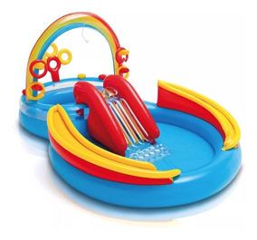 Piscina Arco-íris Infantil 246 Lts Playground Inflável Intex