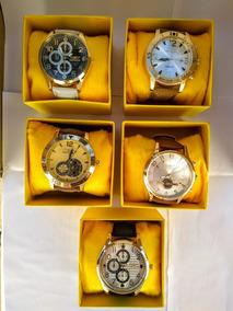 Kit C/10 Relógios Masculino Pulseira Couro Revender+caixas