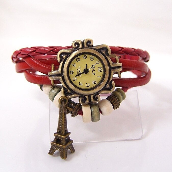 Reloj Vintage Dama, Tejido Torre Eiffel Piel, Pulcera