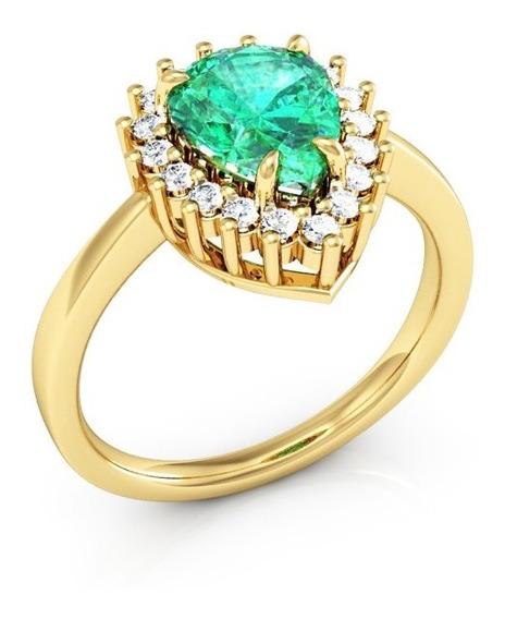 Anel De Ouro Zircônia Verde Gota