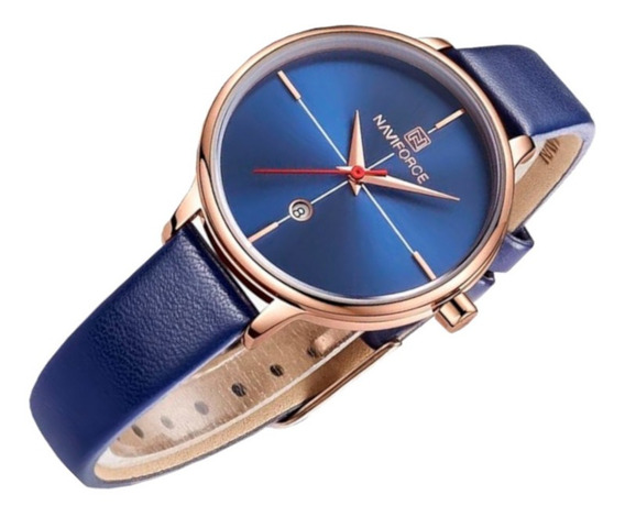 Relógio Feminino Naviforce 5006 Resiste Água Azul Casual