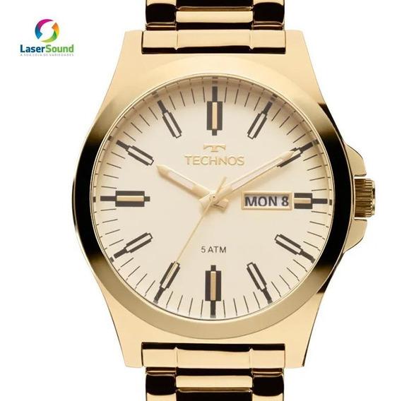 Relógio Technos Masculino Analógico Dourado Original + Nf