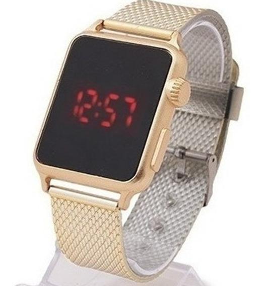 Relógio Feminino De Led Dourado Quadrado Luxo