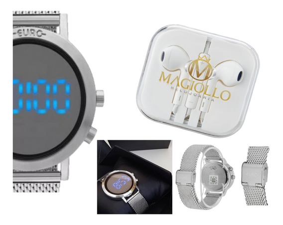 Relógio Feminino Prata Digital Eubj3407ab/3p + Fone Brinde