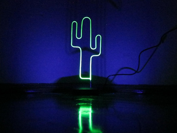 Luminária Led Cacto Efeito Neon Bivolt Abajur Fluorescente