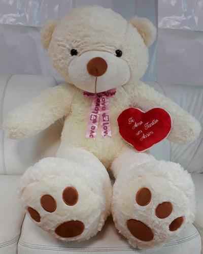 Imagem 1 de 10 de Ursinho Urso 120 Cm De Pelúcia Romantico Love Ted + Coração