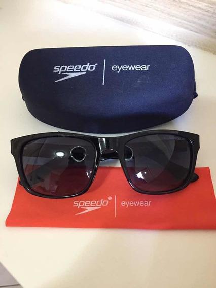 Óculos De Sol Speedo Eyewear Preto Com Detalhes Azul