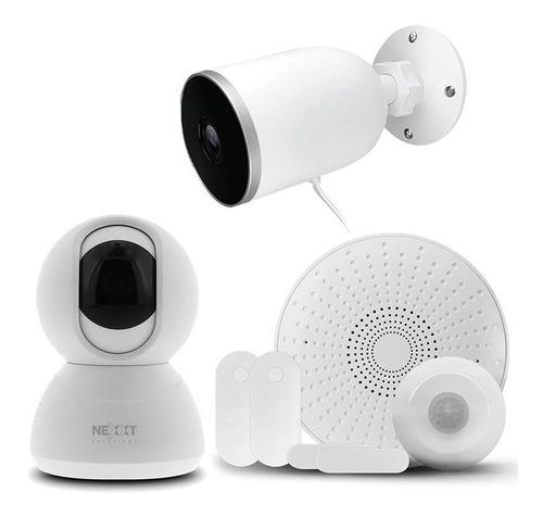 Imagen 1 de 7 de Kit Alarma Nexxt Wifi 3 Sensores Sirena Cam Ptz + 1 Exterior